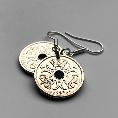 Denmark 1 Krone coin Danish earrings initial M Copenhagen Randers Danskere Danes Scandinavian Nordic Funen Lolland king queen e000073