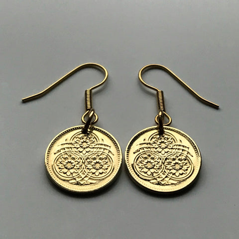 1989 Guyana 1 Cent coin earrings Guyanese Lotus Flower blossom Anna Regina Bartica Paradise Caribbean East Indian flowering plant e000078