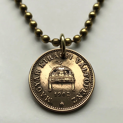 1902 Hungary Filler coin pendant Hungarian Crown of Saint Stephen Holy Jasz Budapest Pannonian Basin Csangos Ugrians Buda necklace n000395