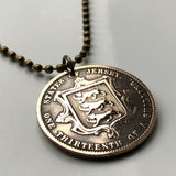 1870 Jersey 1/13th of a Shilling coin pendant 3 gold golden leopards lions shield Queen Victoria Normandy British UK necklace n002975