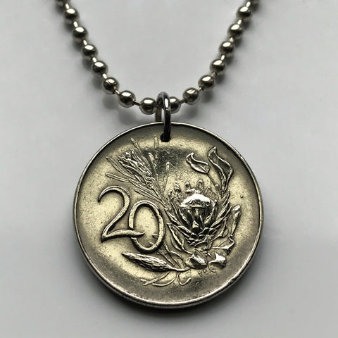 1965 to 1983 South Africa 20 Cent coin pendant King Protea flowering plant Limpopo Nguni Bantu Zulu isiXhosa giant protea honeypot Afrikaans n000149
