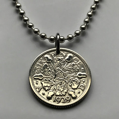 1929 UK 6 Pence silver British coin pendant wedding good luck flowering rosettes rose floral bouquet England Great Britain tanner n001454