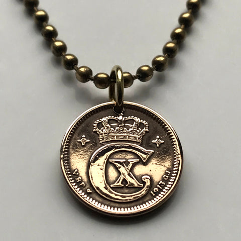 1919 Denmark 1 Ore coin pendant Danish crown initial C Danmark Danes Copenhagen Dansk Nordic Jutes royal king queen necklace n001212