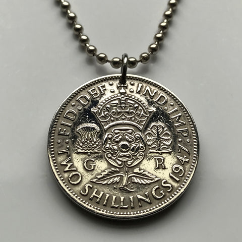 1951 United Kingdom 2 Shillings coin pendant English Tudor rose Scottish thistle Irish shamrock Welsh leek England London Scotland Edinburgh Wales Cardiff Northern Ireland Belfast Manchester n001986