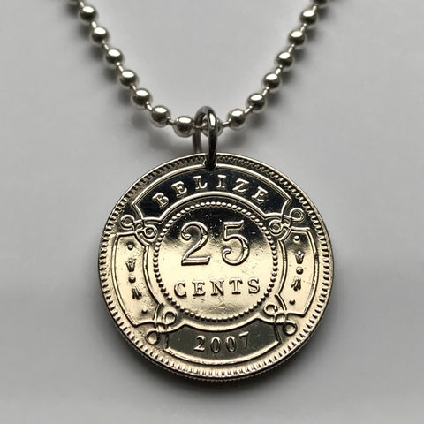 2007 Belize 25 Cents coin pendant British Honduras Belmopan Belizeans Central America Maya Stann Creek Dangriga West Indies necklace n003013
