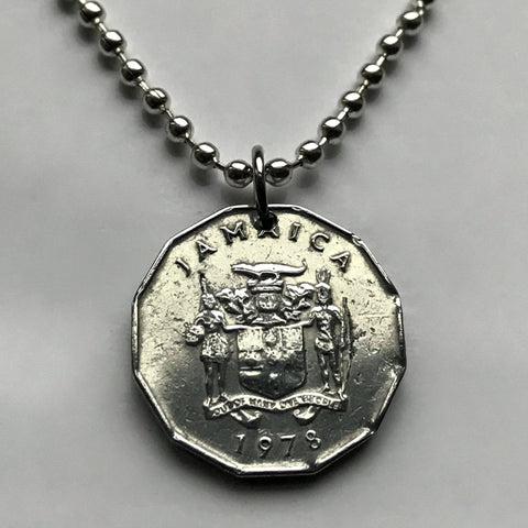 1978 Jamaica 1 Cent coin pendant crocodile pineapples Ackee fruit Greater Antilles Caribbean alligator Jamaican Patwa creole British n003017