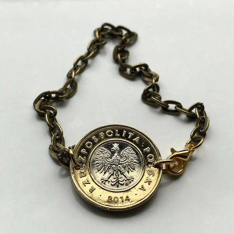 2014 or 2017 Poland 2 Zlote coin bracelet Polska white eagle Warsaw Kraków Poznań Polish crown Pole Polak Slavic West Slavs Oświęcim b000029
