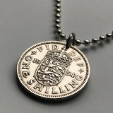 1963 United Kingdom England 1 Shilling coin pendant English shield 3 lions London Southampton British Nottingham Sheffield Great Britain Yorkshire n000164