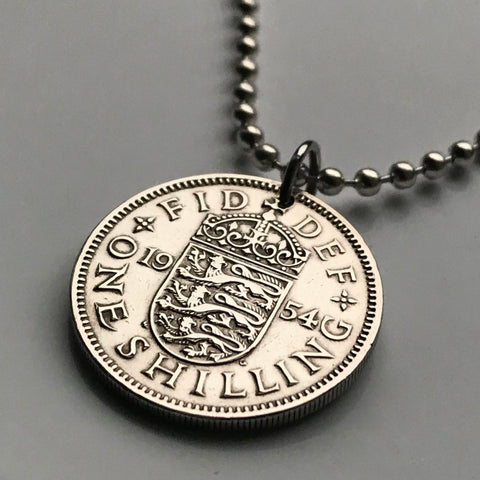 1958 United Kingdom England 1 Shilling coin pendant English shield 3 lions London Southampton British Nottingham Sheffield Great Britain Yorkshire n000164