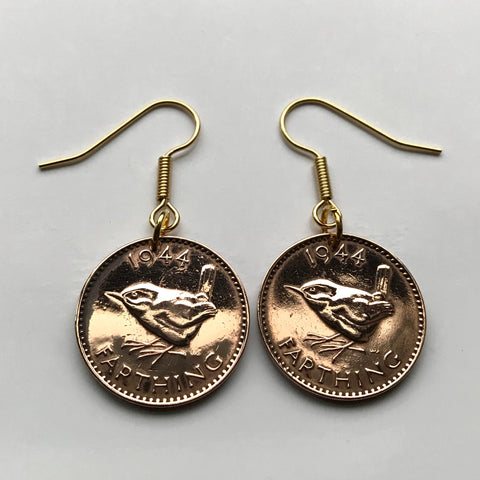 1953 United Kingdom Farthing Wren Jenny bird coin earrings London Leicester Coventry Cardiff Belfast Great Britain English British e000001