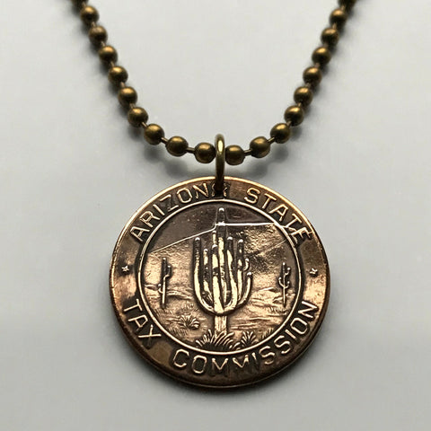 antique USA 1937-1942 Arizona State Tax 5 Mills token Commission coin pendant Sales Tax payment Saguaro desert cactus tree necklace n001151