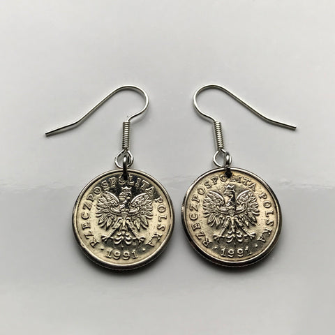 1991 1992 Poland 20 Groszy coin earring Polish white eagle Warsaw Kashubian Polak Slavic West Slavs Oświęcim Poles fish hook earring e000090