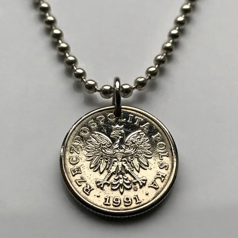 2006 Poland 20 Groszy coin pendant Polish white eagle Warsaw Kraków Poznań Polak Slavic West Slavs Oświęcim Poles necklace n000796