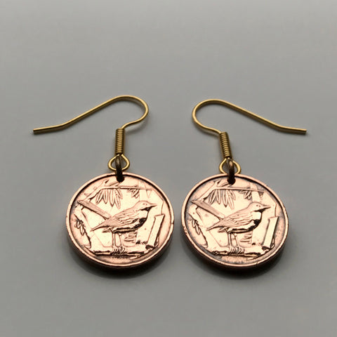 Cayman Islands 1 Cent coin earrings Grand Cayman thrush bird song bird sparrow Caribbean jewelry UK Bodden Town Jamaica e000014