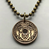 Denmark 1 Ore coin pendant Danish crown initial C X Danmark Danes Copenhagen Dansk Nordic Jutes royal king queen necklace n001311