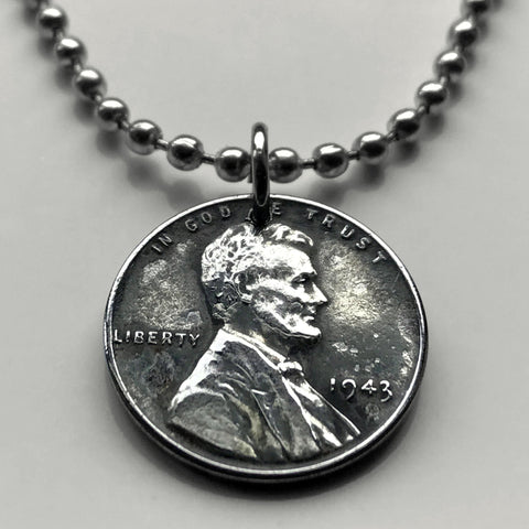 USA 1943 Steel Penny 1 Cent coin pendant World War 2 Allies Abraham Lincoln wheat steelie magnetic coin Americana Victory necklace n001176