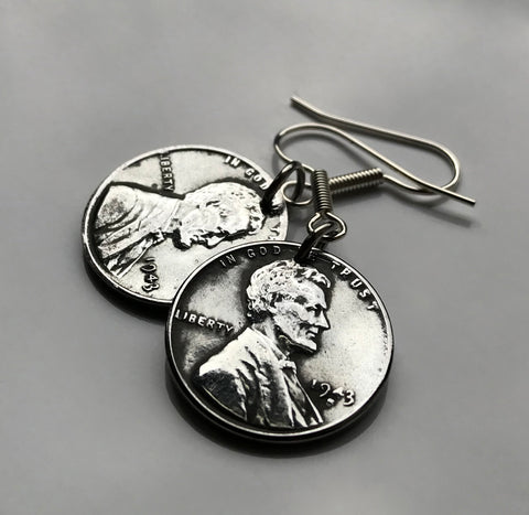 USA 1943 Steel Penny 1 Cent coin earrings World War 2 Allies Abraham Lincoln wheat steelie magnetic coin Americana Victory necklace e000122