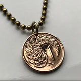 1971 to 1985 New Zealand 1 Cent coin pendant Silver fern leaf ponga Wellington Marae Koruru Hawaiki North South Island haka necklace n000550