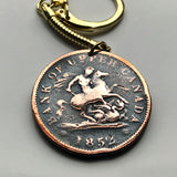 1852 Canada Ontario 1 Penny coin pendant Saint George dragon slayer Bank of Upper Token Canadian province equestrian horse rider n003104
