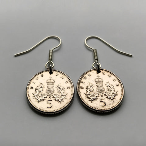 1990 United Kingdom Scotland 5 Pence coin earrings crowned Scottish thistle Scots Glasgow royal Badge of Scotland dangle & drop hook British e000024