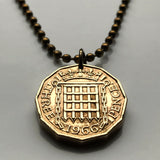 1962 United Kingdom 3 Pence coin pendant Tudor portcullis castle chains English crown British England Manchester Liverpool Yorkshire n000415