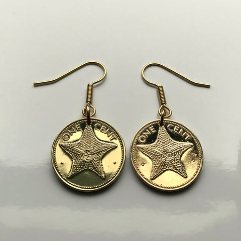 1980's Bahamas 1 Cent coin earrings Bahamian starfish sea star Nassau Andros Exuma Junkanoo Rose Island Lighthouse Beach Rum Cay sand sea e000151