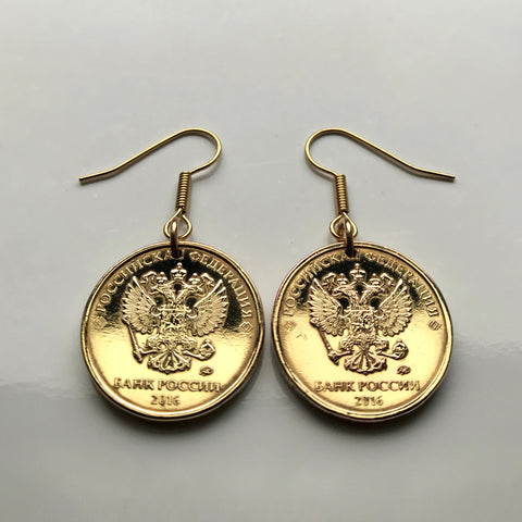 2016 Russia 10 Rubles coin earrings double headed eagle Moscow Russkiye Russian Saint Petersburg bird coat of arms e000119