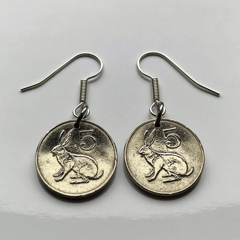 1980's Zimbabwe 5 Cent coin earrings scrub hare rabbit Harare Shona Masvingo Ndebele Bantu Chewa Kwekwe Zimbo soapstone bird fish eagle e000123