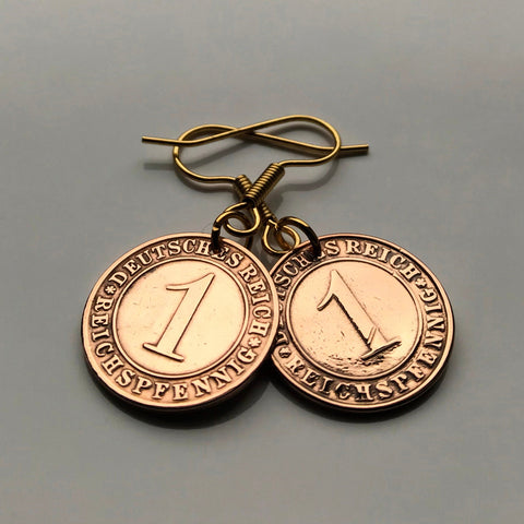 1924 Germany Pfennig coin earrings Berlin Hamburg Munich Koeln Duisburg Deutschland Bavaria Wandsbek Karlsruhe Dresden Oktoberfest e000155