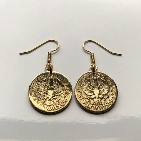 1923 Poland 5 Groszy coin earring Polish white eagle Warsaw Kraków Poznań Polak Poles Slavic West Slavs Oświęcim fish hook earrings e000049