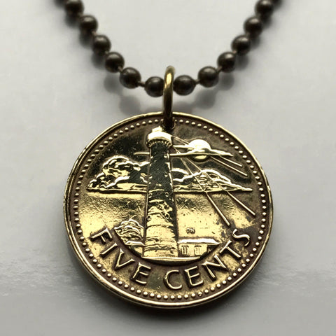 1973 Barbados 5 Cent coin pendant Barbadian Bridgetown trident dolphin fish pelican South Point Lighthouse beach necklace n000099