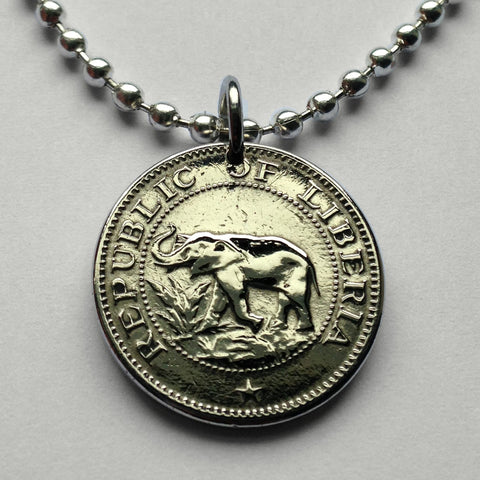 1972 or 1977 Liberia 5 Cents coin pendant jewelry West African elephant safari Monrovia Gbarnga Buchanan Ganta Kakata Zwedru Harbel Montserrado Nimba Kpelle Bassa people Bong Lofa Harper Pleebo Foya Klao n000734