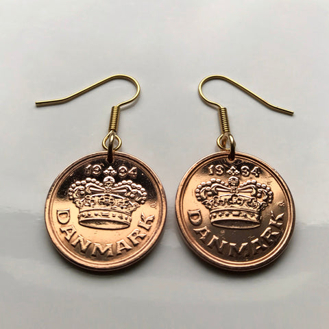 1994 Denmark 50 Ore coin earrings Danish crown Copenhagen Dane Nordic Zealand Funen Faroese Danmark Amalienborg Palace Norse king e000179