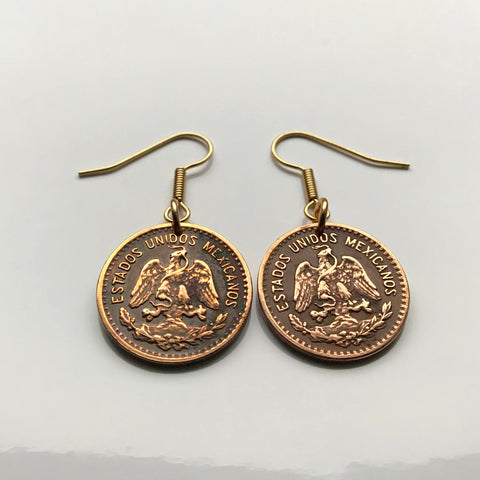 1946 Mexico 1 Centavo coin earrings Mexican golden eagle águila Aztec serpent snake cactus hawk Nahuas necklace e000144