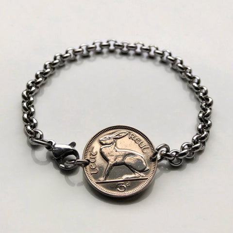 1968 Ireland 3 Pence coin bracelet Irish rabbit hare Dublin Cláirseach harp St Patrick's Day Guinness Waterford Drogheda Gaels b000048