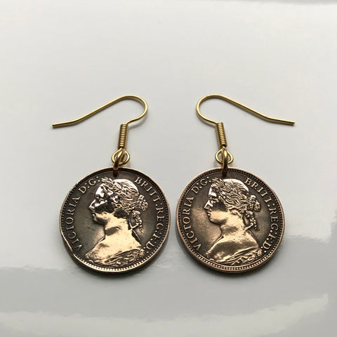 1800's United Kingdom 1 Farthing coin earrings Queen Victoria Britannia London Manchester Bristol Southampton Nottingham Sheffield York UK British England English Great Britain Leeds York Liverpool Edinburgh e000149