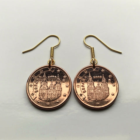 2007 Spain España 5 Euro Cent coin earrings Santiago de Compostela cathedral apostle Way of Saint James the Great church Iglesia Jesus Madrid Cadiz Galicia Praza do Obradoiro Gallego Lugo e000193