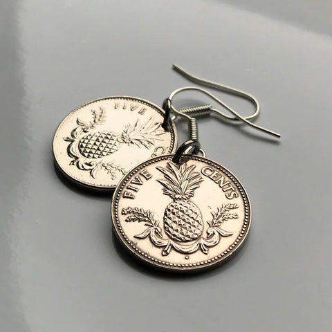 Bahamas 5 Cents coin earrings Bahamian pineapple Nassau Andros Exuma & Cays tropical fruit Cat Island Rum Cay Cable Beach e000195