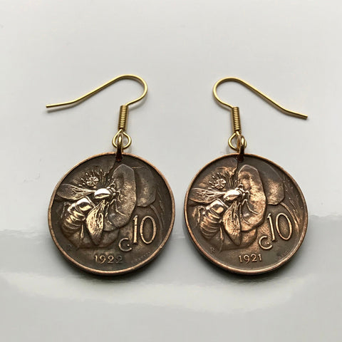 1926 Italy 10 Centesimi coin earrings honey bee bumble Rome Milan Pisa Sicily Genoa Siena Palermo Tuscany pollination beehive cute e000139