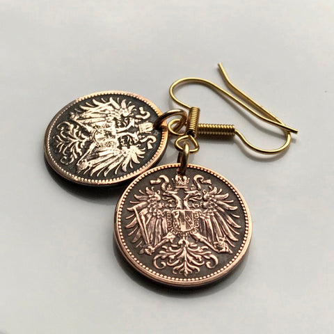 Austria 2 Heller coin earrings double headed eagle Vienna Sankt Pölten Linz Styria Salzkammergut Habsburg Austrian crown Budapest e000162