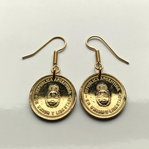 2005 Argentina 10 Centavos coin earrings Sol de Mayo Mar del Plata Argentine Tucumán Santa Fe Quilmes escudo asado hook earrings e000140