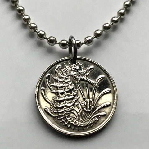 1968 or 1973 Singapore 10 Cents coin pendant seahorse Bedok cute sea horse sea life ocean beach Chinese asian necklace n000074