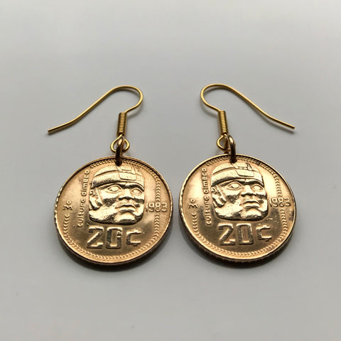 1983 Mexico 20 Centavos coin earrings Olmec colossal heads statue Veracruz Villahermosa Tabasco Mesoamérica Mexican eagle e000206