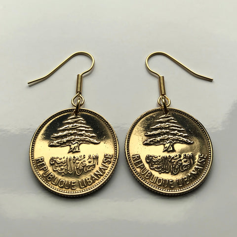 Lebanon Liban 25 Piastres coin earrings Lebanese cedar tree Beirut Tripoli Zahlé Sidon Byblos Bsharri Tyre Aley Nabatieh Jounieh Anjar Zaarour Chekka Qadisha Kadisha Levantine Rashaya Batroun e000181