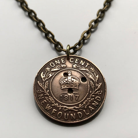 1917 Canada Newfoundland 1 Cent coin pendant Canadian crown purple pitcher plant wreath Terre-Neuve Humber River Vinland necklace n003180