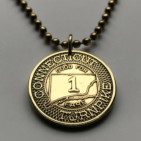 1982 Connecticut Turnpike Highway Token coin pendant Hartford Bridgeport transit transportation toll booth Good For One Fare USA n001358