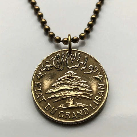 1940 Lebanon 5 Piastres coin pendant Lebanese cedar tree Trireme warship Beirut The Levant Middle East Arab Phoenician World War 2 n003201