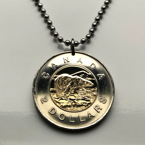 2002 Canada 2 Dollars coin pendant Canadian Polar Bear Ottawa ice glazier Nova Scotia Newfoundland French North America arctic n003171