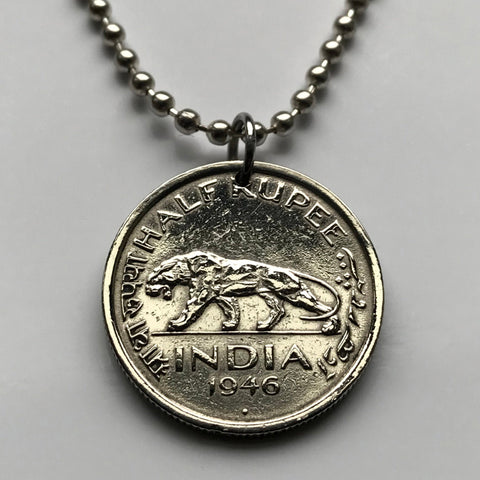 1947 UK India 1/2 Rupee coin pendant tiger Mumbai New Delhi Bangalore Kanpur Kochi Panaki Lucknow Hindi Urdu Hindu panther jaguar n000129