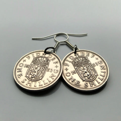 1955 United Kingdom Scotland Shilling coin earrings Scottish lion Edinburgh Glasgow Perth Alba Dundee Aberdeen Holyrood Palace Lothian Stirling Scots Inverness Fife Great Britain British e000207